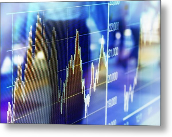 Reflection Of Stock Market Graph In Window Metal Print by Hiroshi Watanabe