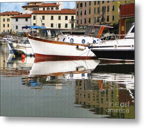 Reflections Along The Canal Metal Print