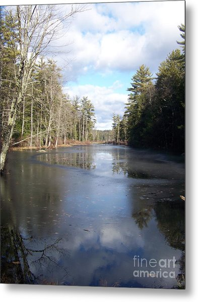 Reflections Caught On Ice At A Pretty Lake In New Hampshire Metal Print