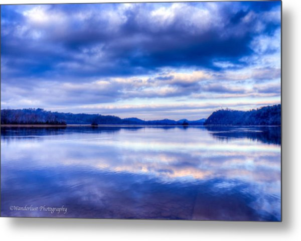Reflections In Blue Metal Print by Paul Herrmann