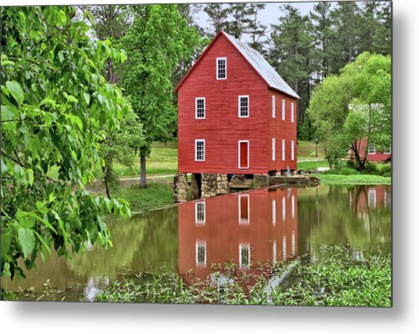 Reflections Of A Retired Grist Mill Metal Print