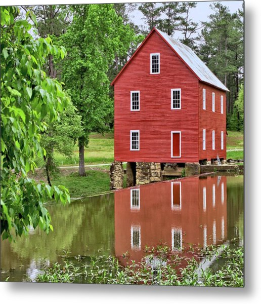 Reflections Of A Retired Grist Mill - Square Metal Print