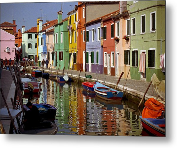 Reflections Of Burano Metal Print