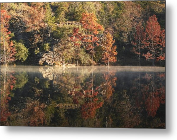 Reflections Of Fall Metal Print by Cindy Rubin