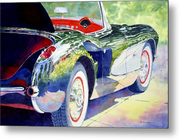 Reflections On A Corvette Metal Print