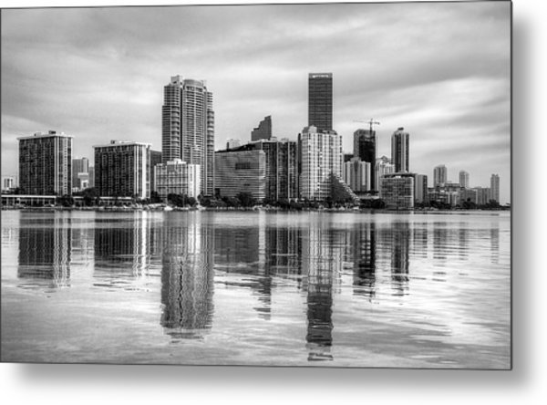 Reflections On Miami Metal Print by William Wetmore