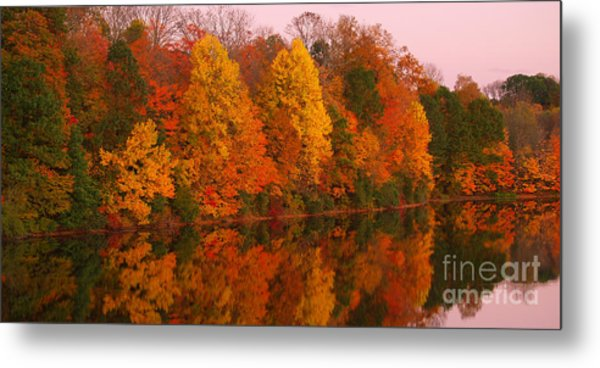Reflective Lake Nockamixon Pano - Twilight Metal Print