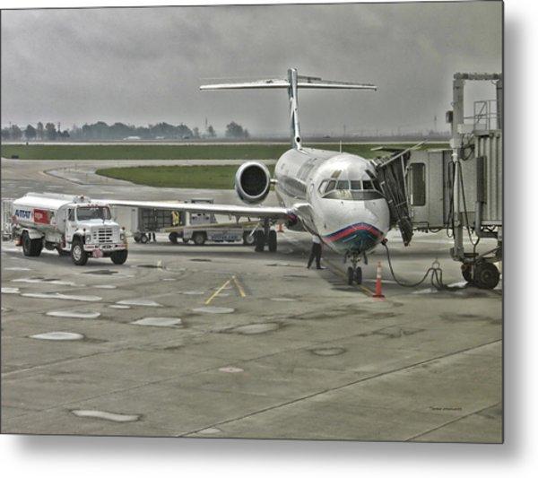 Refueling A Passenger Jet Metal Print