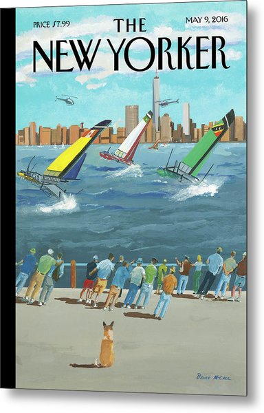 Reggata On The Hudson Metal Print by Bruce McCall