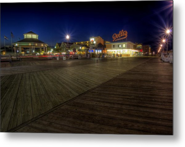 Rehoboth Beach Boardwalk At Night Metal Print