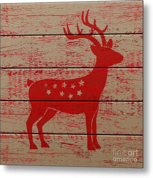 Reindeer On Old Wooden Background Metal Print