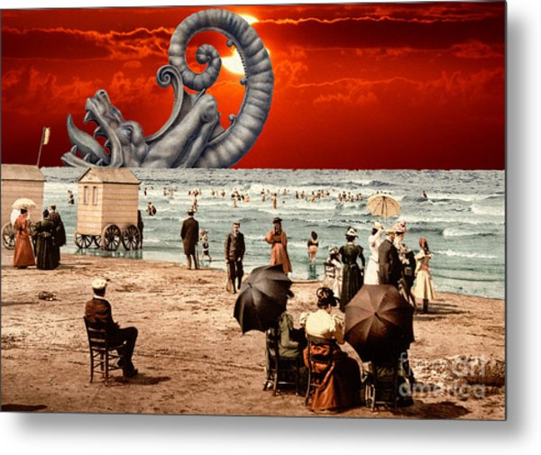 Relax On The Beach Collage Metal Print