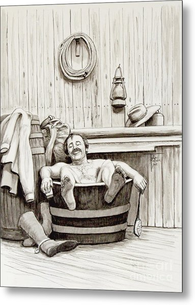 Relaxing Bath - 1890's Metal Print