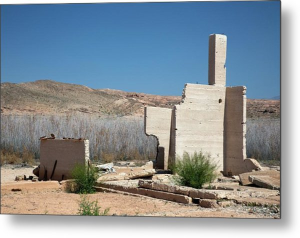 Remains Of House Flooded By Hoover Dam Metal Print by Jim West