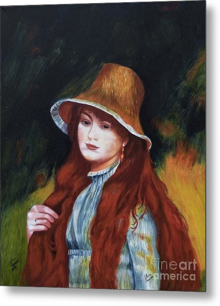 Renoir-young Girl In A Straw Hat Metal Print