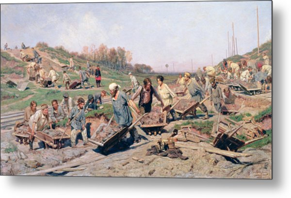 Repair Works On The Railway Line, 1874 Oil On Canvas Metal Print