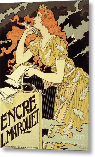Reproduction Of A Poster Advertising 'marquet Ink' Metal Print