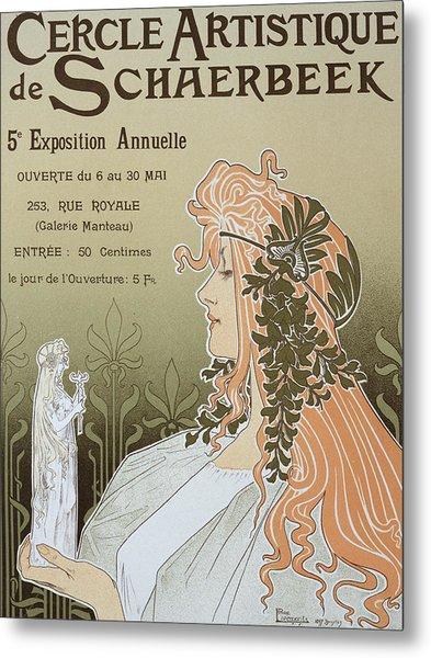 Reproduction Of A Poster Advertising 'schaerbeek's Artistic Circle Metal Print