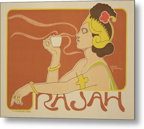 Reproduction Of A Poster Advertising The 'cafe Rajah' Metal Print