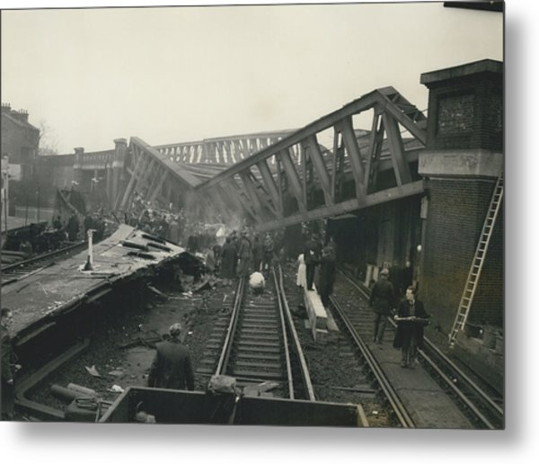 Rescue Work Goes On In The Lewisham Rail Crash Engineers Metal Print by Retro Images Archive