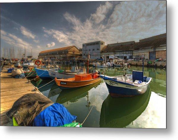 resting boats at the Jaffa port Metal Print