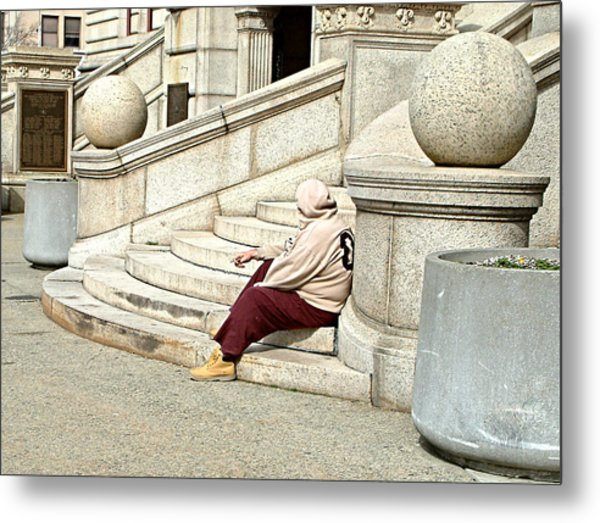 Resting On The Steps Of City Hall Metal Print by Mike McCool