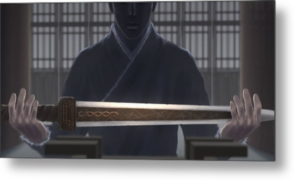 Resting Sword Metal Print by Hiroshi Shih