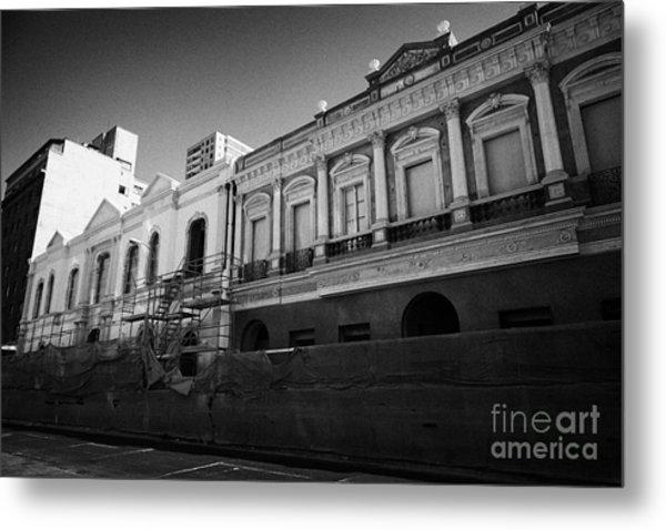 restoration of old colonial buildings damaged by earthquake compania de jesus Santiago Chile Metal Print by Joe Fox