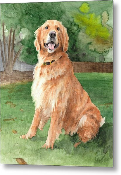 Retriever Watercolor Portrait Metal Print by Mike Theuer