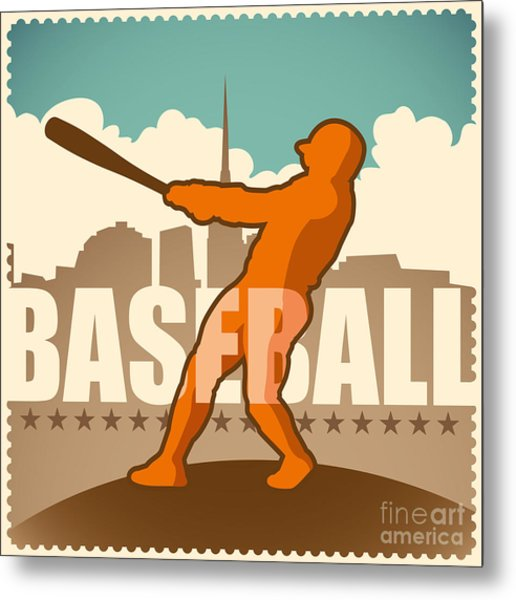 Retro Baseball Poster. Vector Metal Print