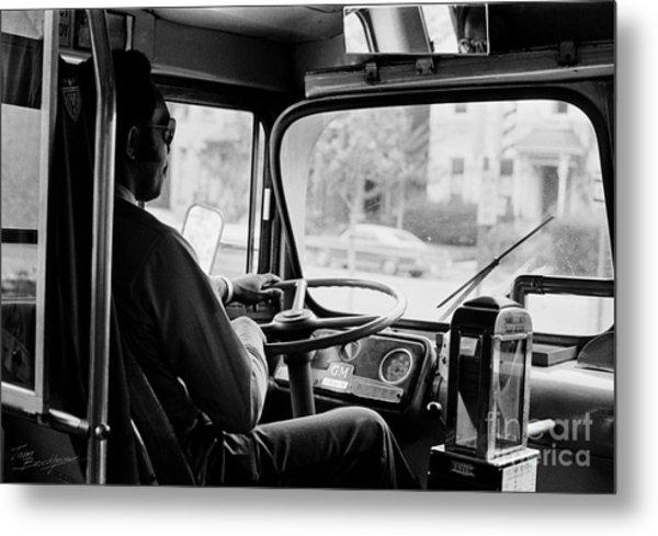 Retro Bus Driver Metal Print