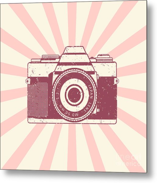 Retro Camera, Vintage Design, Vector Metal Print