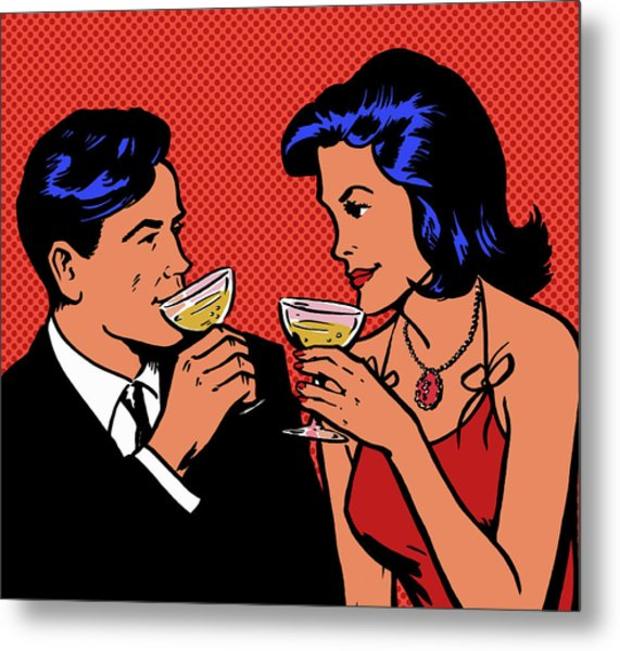 Retro Couple Drinking Champagne Metal Print