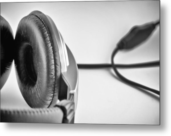 Retro Headphones Metal Print