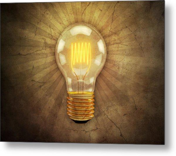 Retro Light Bulb Metal Print