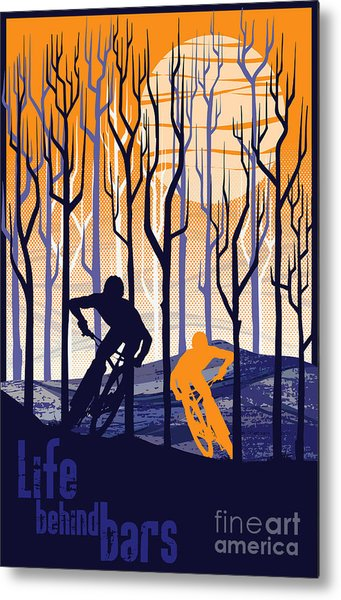 Retro Mountain Bike Poster Life Behind Bars Metal Print