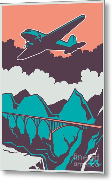 Retro Poster With Airplane. Vector Metal Print