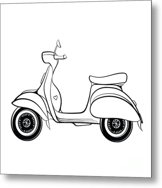 Retro Scooter Stylized In Doodle Style Metal Print