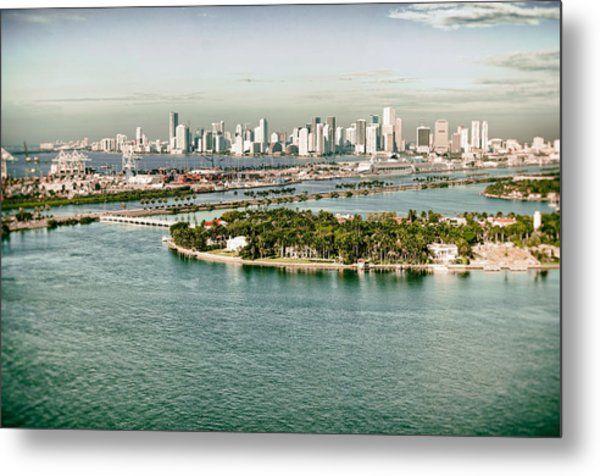 Retro Style Miami Skyline And Biscayne Bay Metal Print