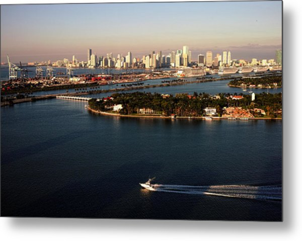 Retro Style Miami Skyline Sunrise And Biscayne Bay Metal Print