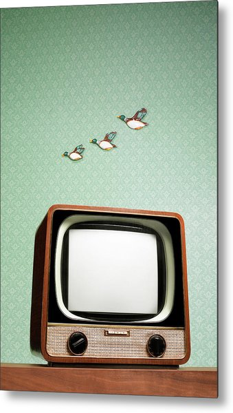 Retro Tv With Flying Ducks On The Wall Metal Print