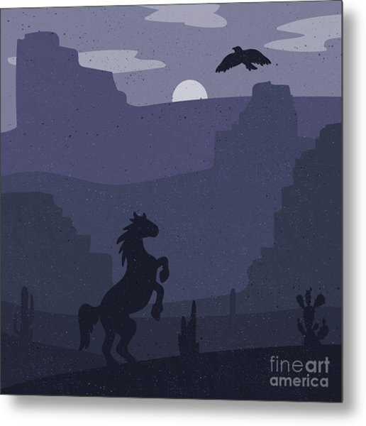 Retro Wild West Galloping Horse In Metal Print by Barsrsind
