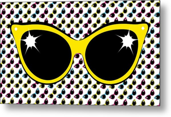 Retro Yellow Cat Sunglasses Metal Print