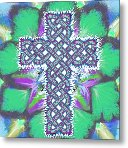 Metal Print featuring the painting Rev 12 Cross Flower by Hidden  Mountain