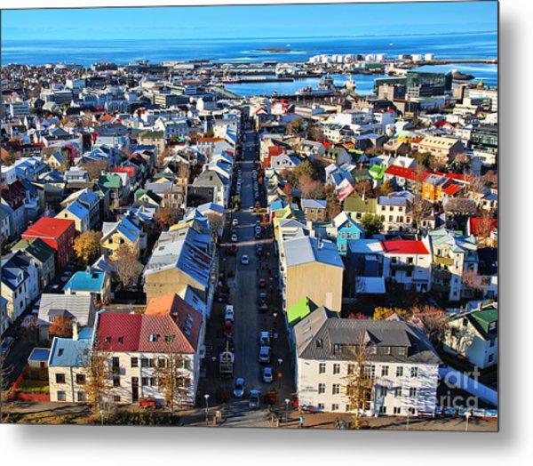 Reykjavik Cityscape Panorama Metal Print