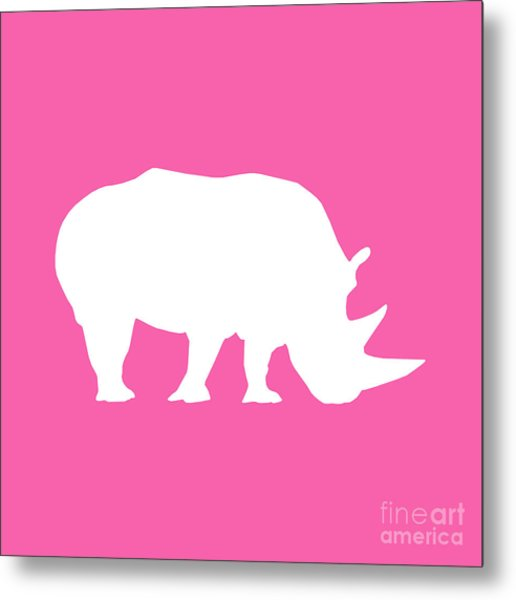 Rhino In Pink And White Metal Print