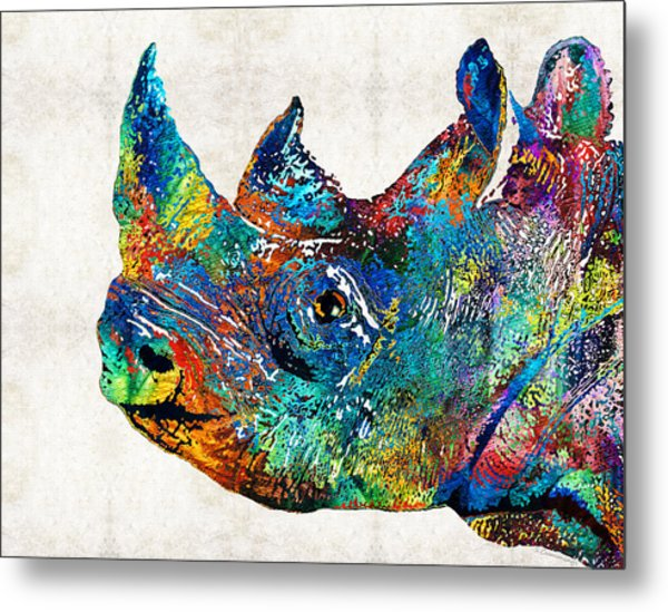 Rhino Rhinoceros Art - Looking Up - By Sharon Cummings Metal Print