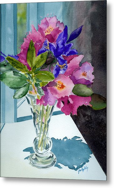 Rhododendrons And Iris Metal Print