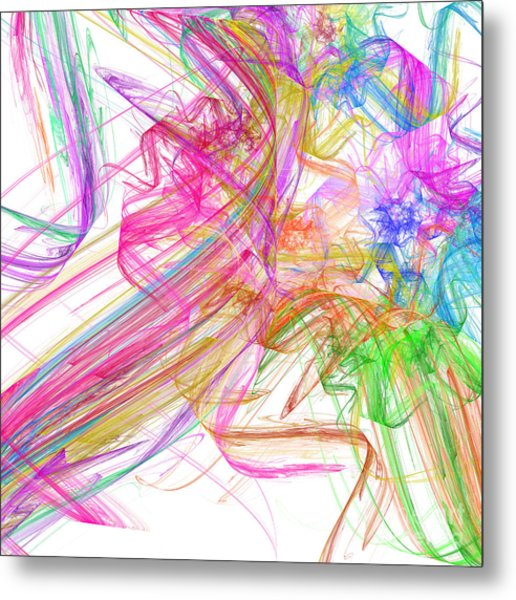 Ribbons And Curls White - Abstract - Fractal Metal Print