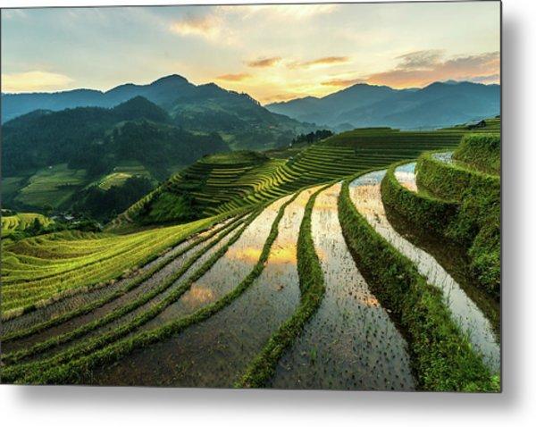 Rice Terraces At Mu Cang Chai, Vietnam Metal Print by Chan Srithaweeporn